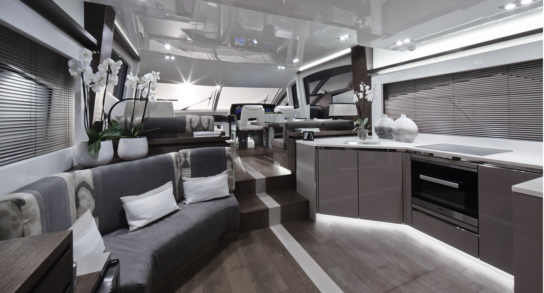 Pearl 65 Yacht with interior design by Kelly Hoppen Styled with