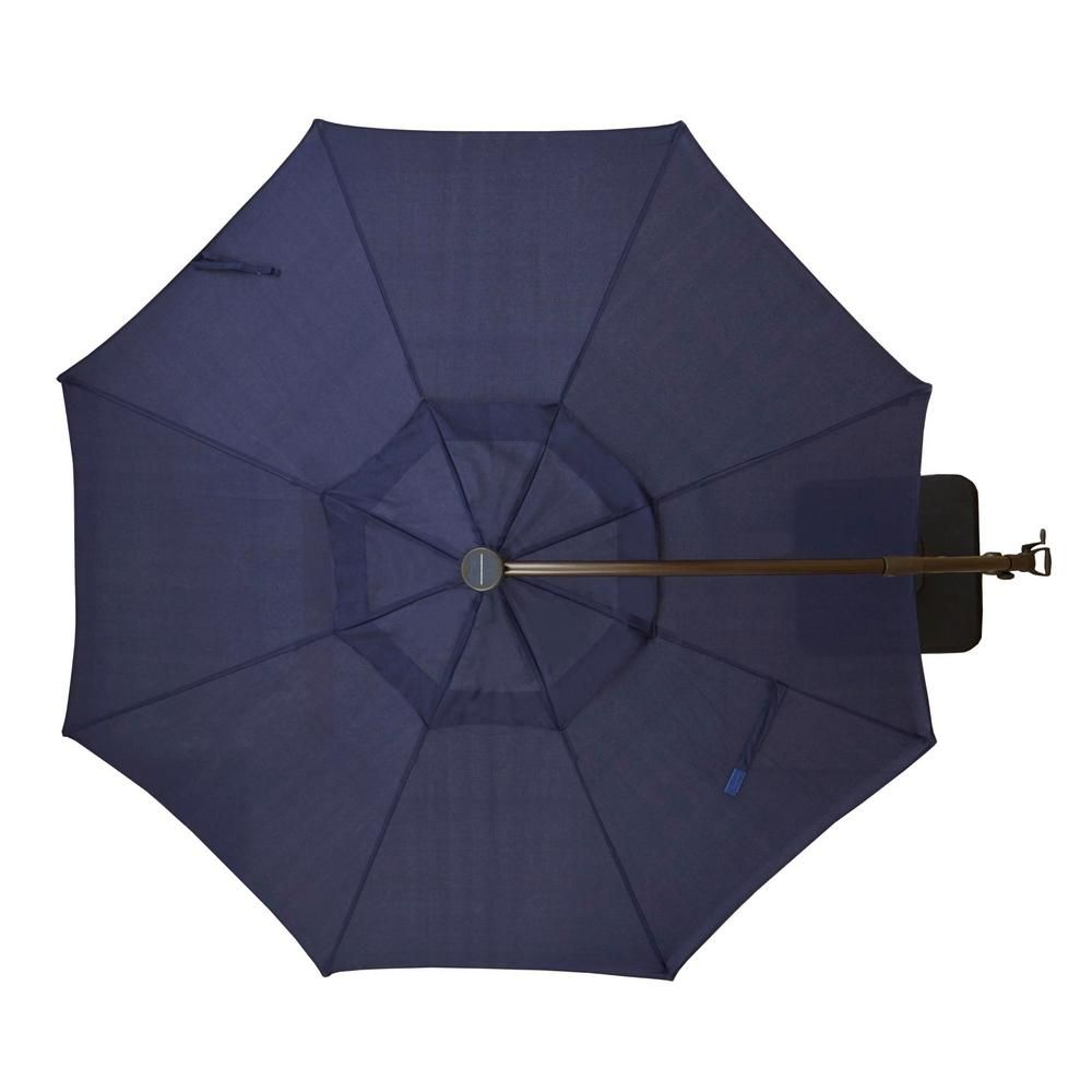 Hampton Bay 11 Ft Aluminum Cantilever Solar Led Offset Outdoor Patio Umbrella In Midnight Navy Blue Yjaf052 Mi The Home Depot Patio Umbrella Lights Solar Powered Led Lights Patio Umbrella