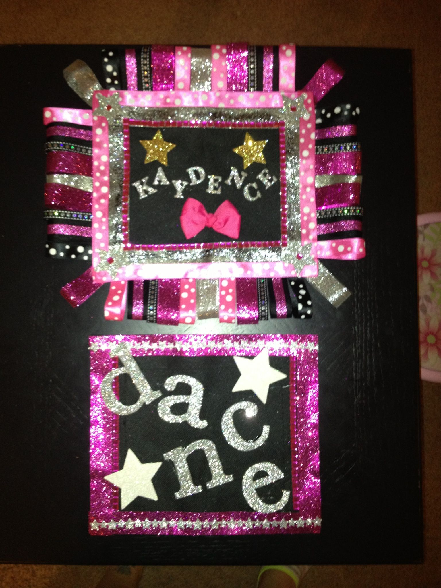 "Dream Duffel"" personalized patches made by me for my daughters dance"