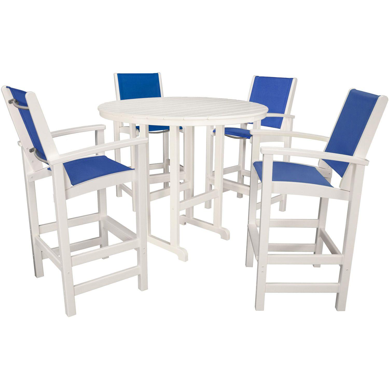 hanover nassau white plastic outdoor 5 piece bar dining set white
