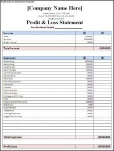 free profit and loss statement template jkailupq