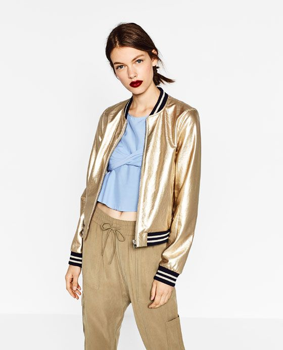 2a5959d804e0 Image 3 of GOLD-TONED BOMBER JACKET from Zara | suéteres, chaquetas ...