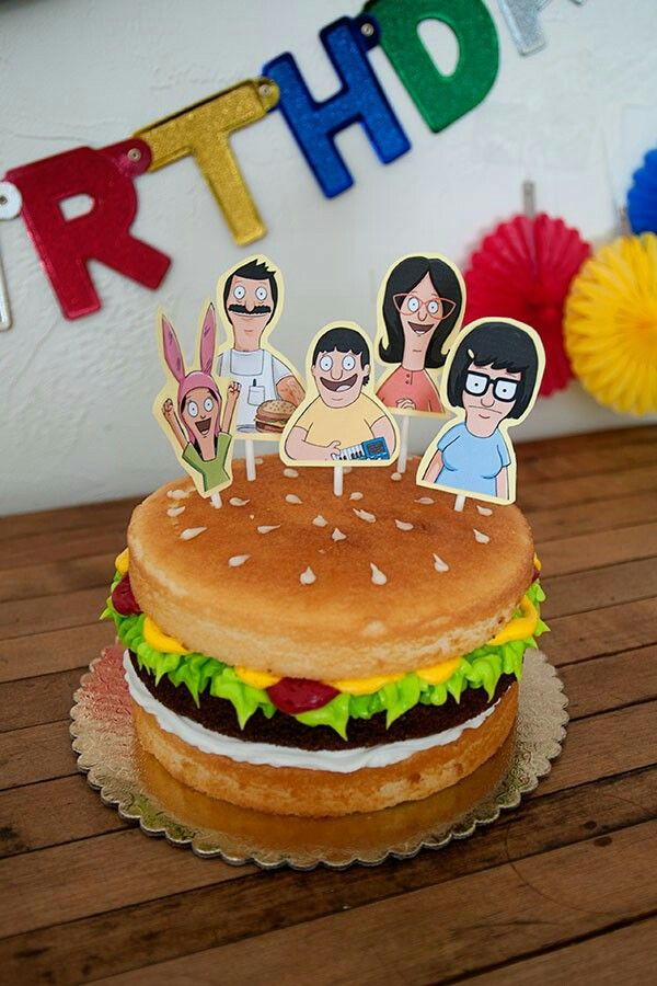 Brilliant Bobs Burgers Birthday Cake Funny Birthday Cakes Burger Cake Funny Birthday Cards Online Inifofree Goldxyz