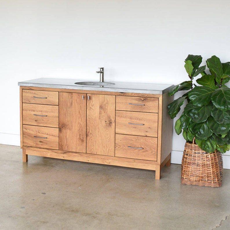 Photo of 60″ Custom Bathroom Vanity made from Reclaimed Wood