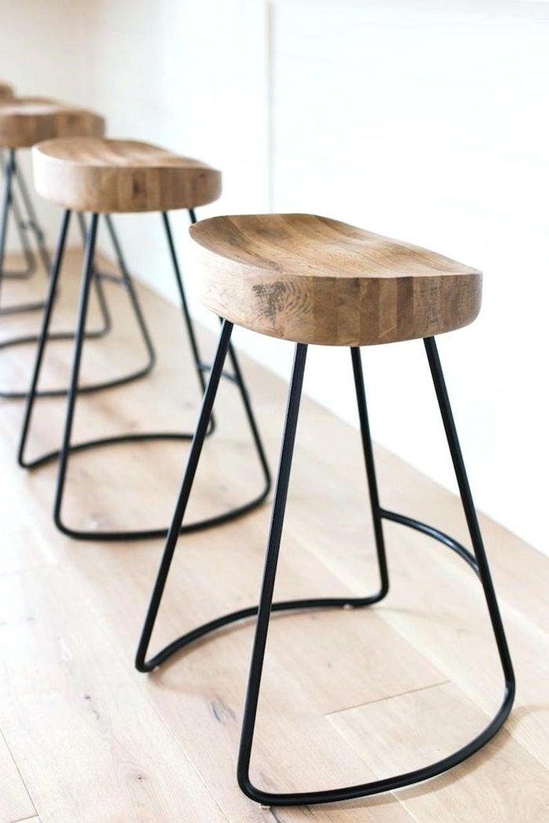 Wooden Metal Bar Stool Wooden Seat Bar Stools Etsy In 2020 Kitchen Stools Designer Bar Stools Wooden Bar Stools