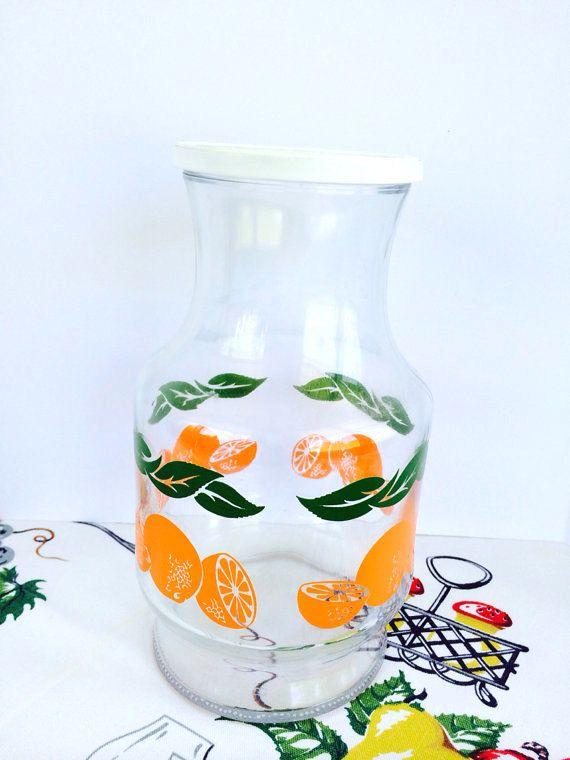 Vintage Orange Juice Carafe Pitcher With Lid Anchor Hocking Glass