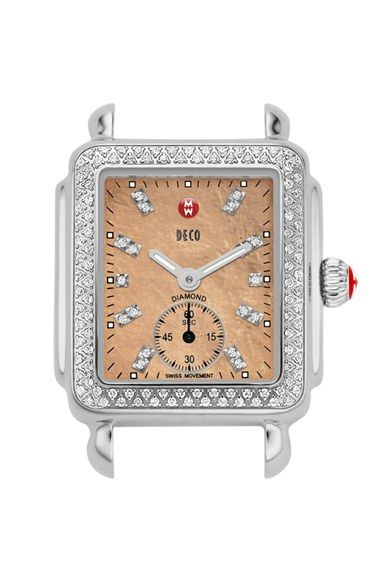 MICHELE 'Deco 16 Diamond' Diamond Dial Watch Case, 29mm x 31mm available at #Nordstrom