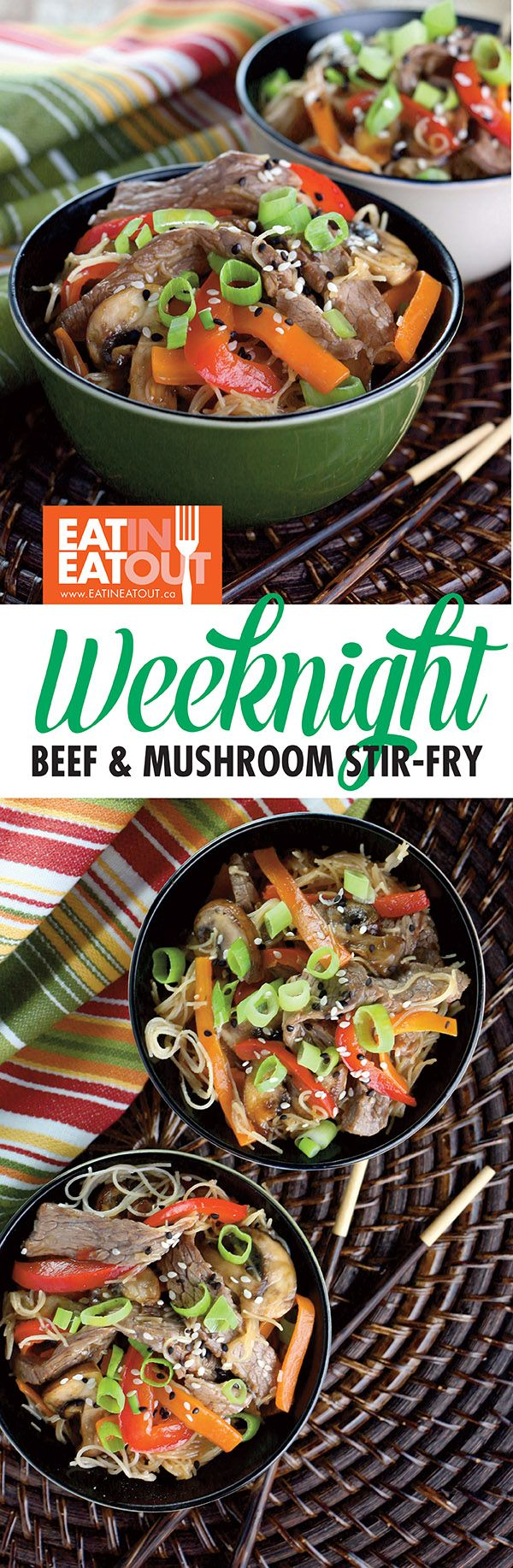 Beef & Mushroom Stir-fry with Rice Noodles - Need a delicious good-for-you weeknight meal in 30 minutes? Done!