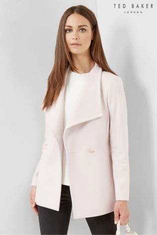 Buy Ted Baker Nude Pink Short Wrap Car Popper Coat from the Next ...