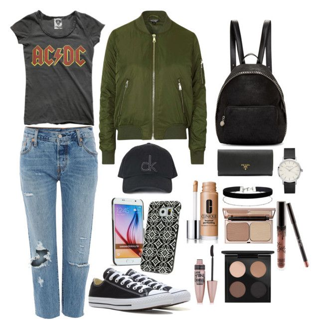 """""""STYLE SUNDAY// CHILLED DAY"""" by fionacummings on Polyvore featuring Levi's, Converse, Topshop, STELLA McCARTNEY, Miss Selfridge, MAC Cosmetics, Kylie Cosmetics, Clinique, Charlotte Tilbury and Maybelline"""