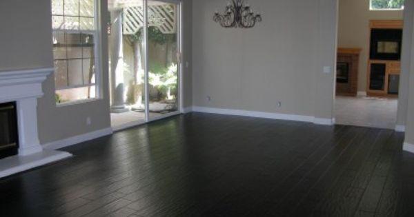 Wood Flooring Skirting Grey Walls White Trim Black Hardwood Floors Living Room Decor Gray