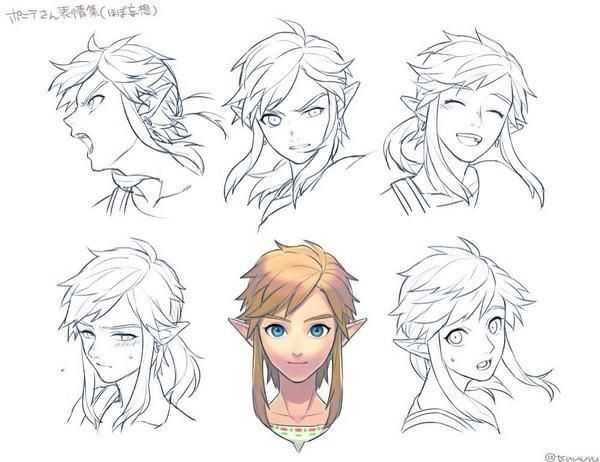 how to draw link and link from breath of the wild
