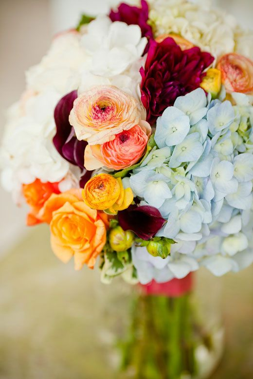 BEAUTIFUL! Wedding bouquet of pale blue hydrangea, burgundy dahlias ...