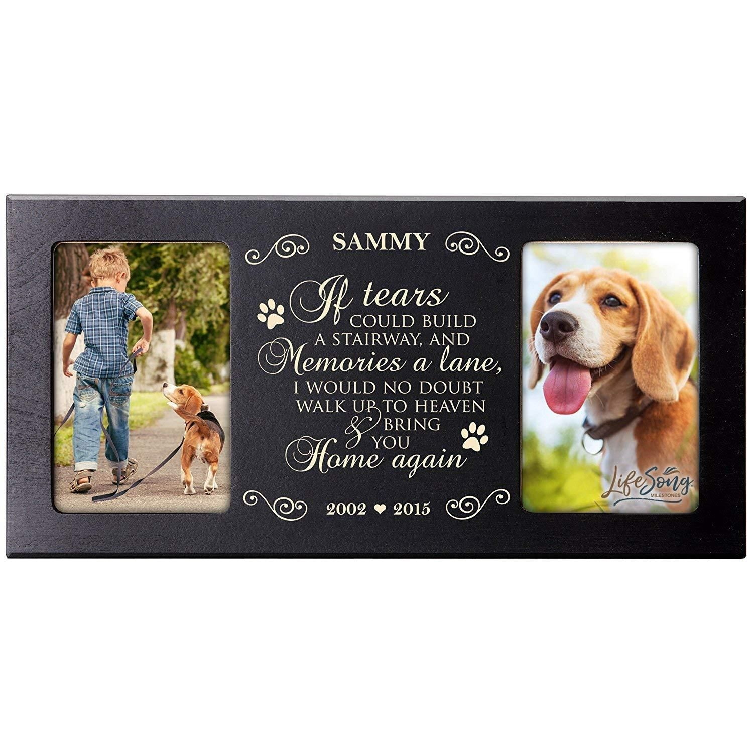 Personalized pet memorial 2 picture photo frame gift home