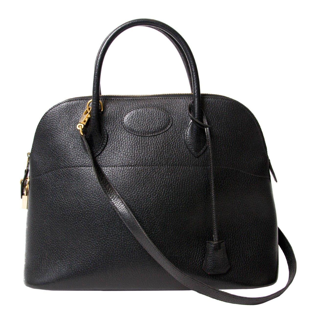 6fd6ece638b4c Hermes Bolide 35 Black Top Handle Shoulder Strap Bag GHW