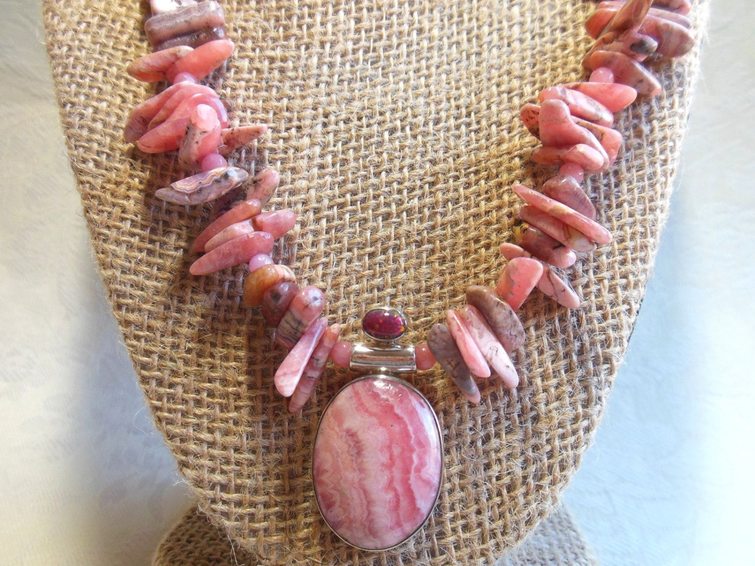 Rhodochrosite pendant necklace with fire opal accent, pink rhodochrosite and sterling silver, one of a kind necklace, white bronze toggle by #EyeCandybyCathy on Etsy
