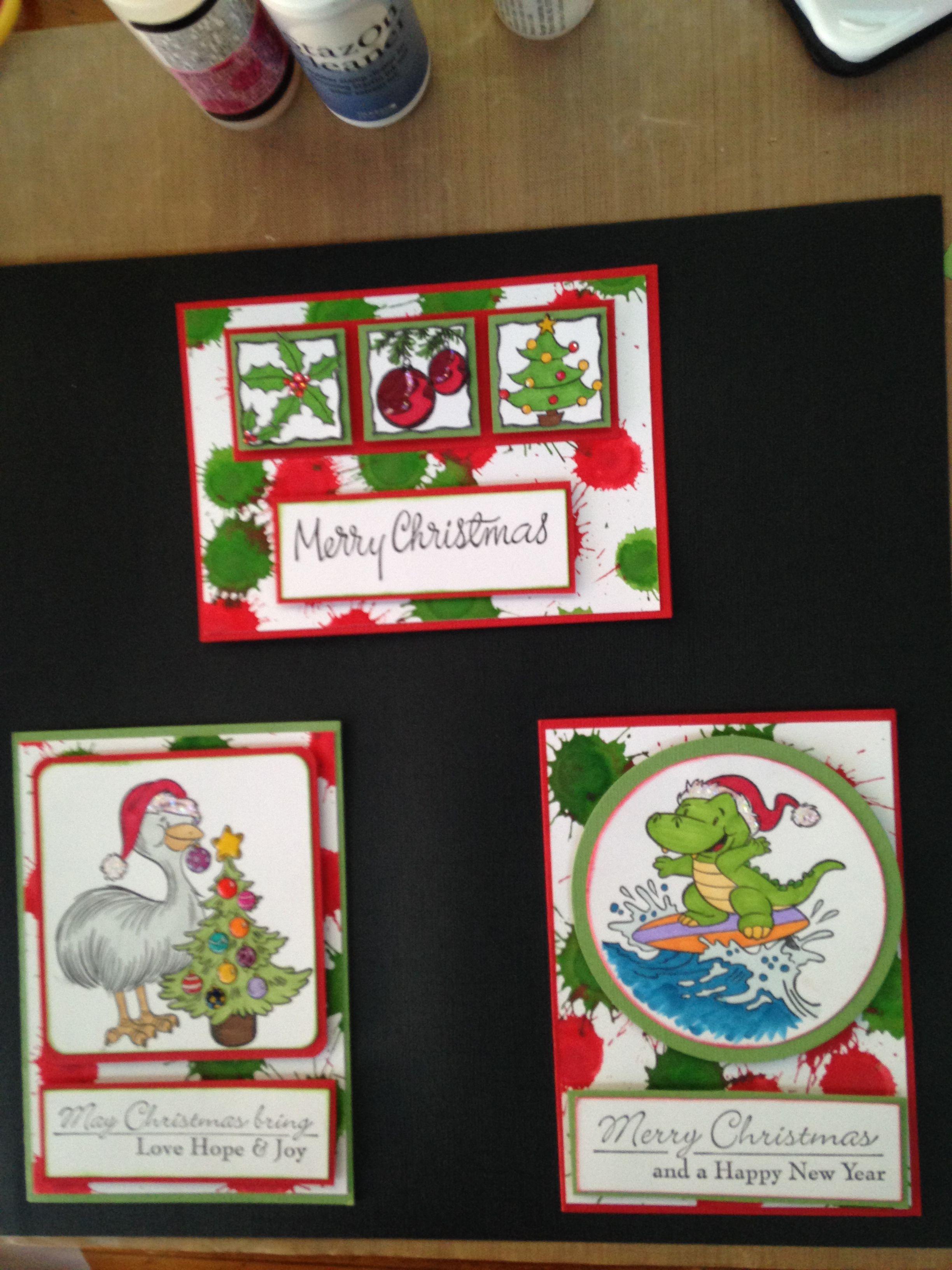 Christmas Splat cards Kaszazz Pinterest