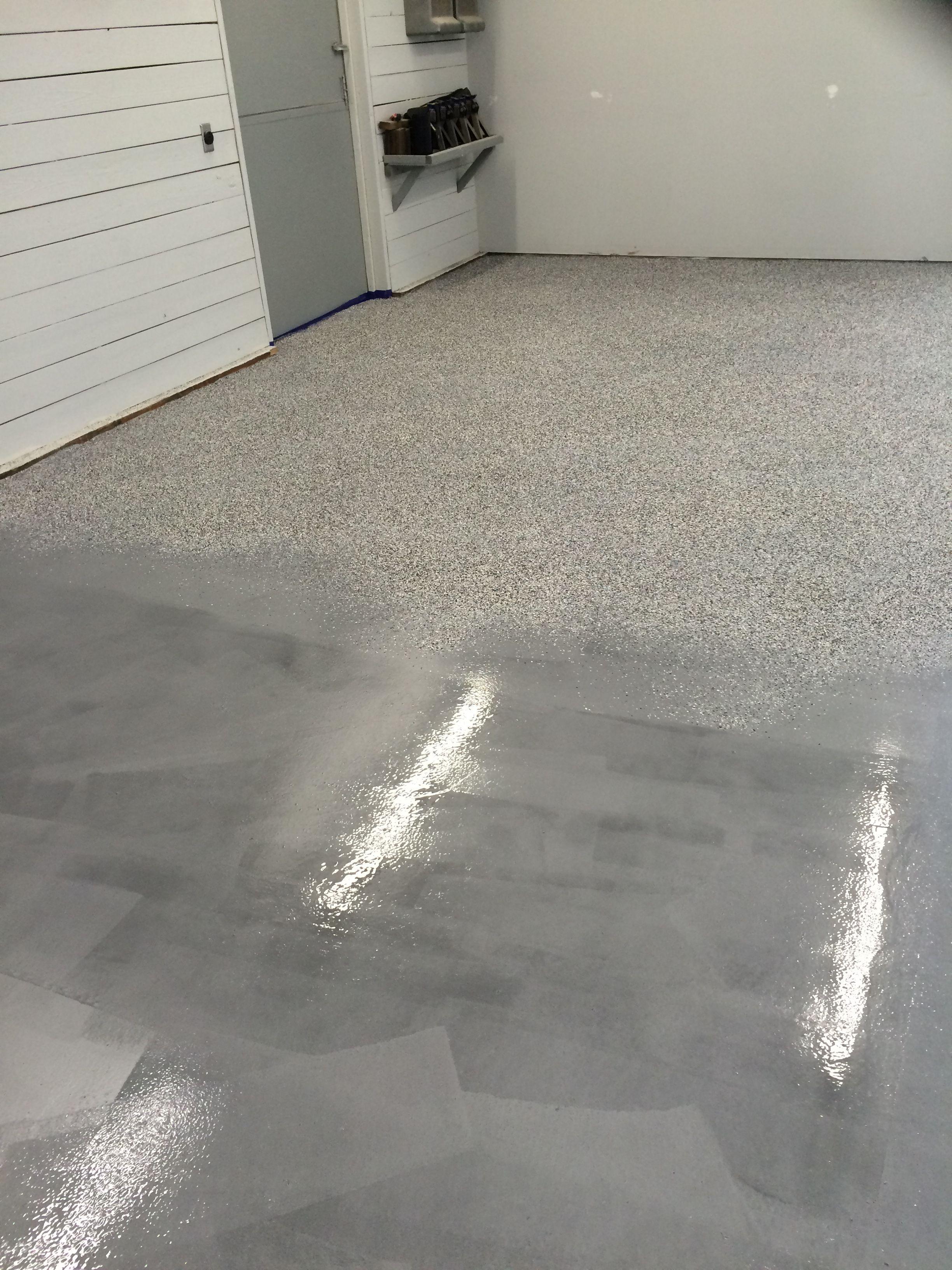 full broadcast rust bullet garage floor coating project floor