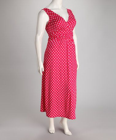 Take a look at this Fuchsia Polka Dot Plus Size Maxi Dress by Star