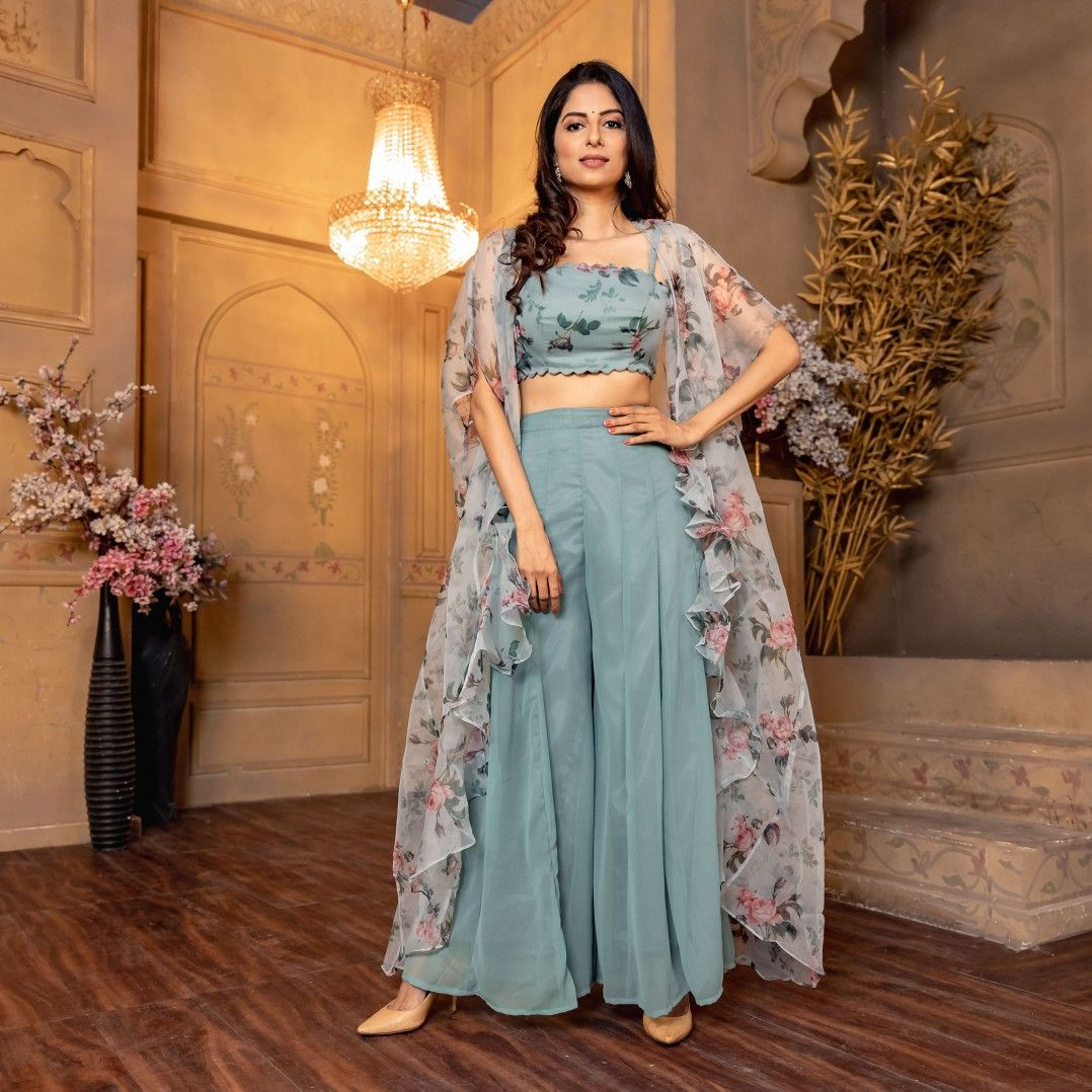 Blue Crop Top Palazzo Set With Shrug Crop Top Wedding Dress Indian Party Wear Indian Dresses Stylish Party Dresses [ 1078 x 1078 Pixel ]
