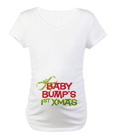 White 'Baby Bump's First Christmas' Maternity Tee - Women by CafePress on | http://best-justforgags-collections.blogspot.com