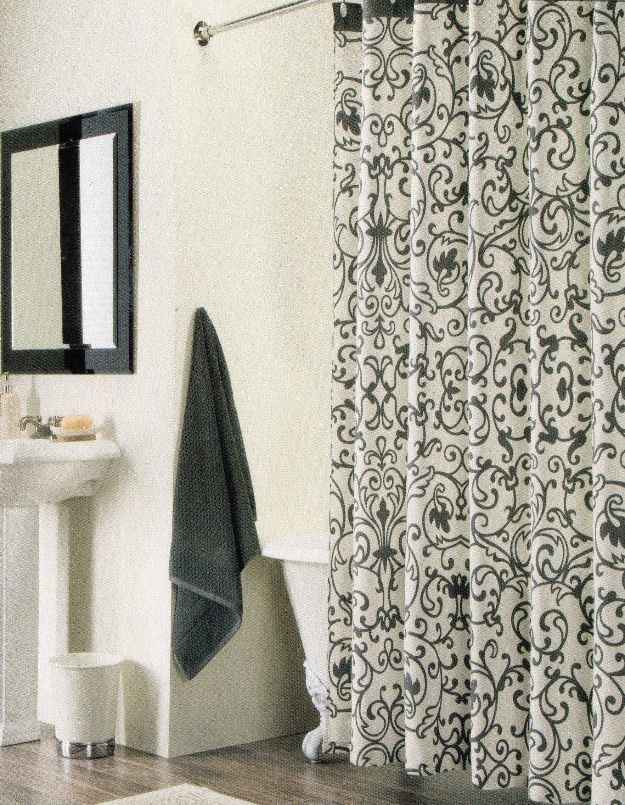 Amazon Com 100 Percent Cotton Shower Curtain Floral Scroll Black