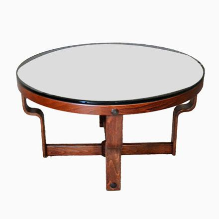 Runder Norwegischer Tisch aus Schwarzem Glas von Oddmund Vad, 1974 - marmor wohnzimmer tische