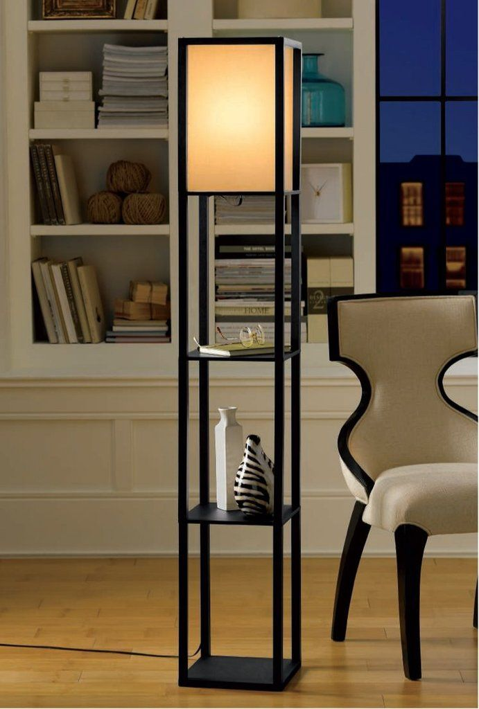 Floor Lamp With Shelves And White Cotton Linen Shade Black