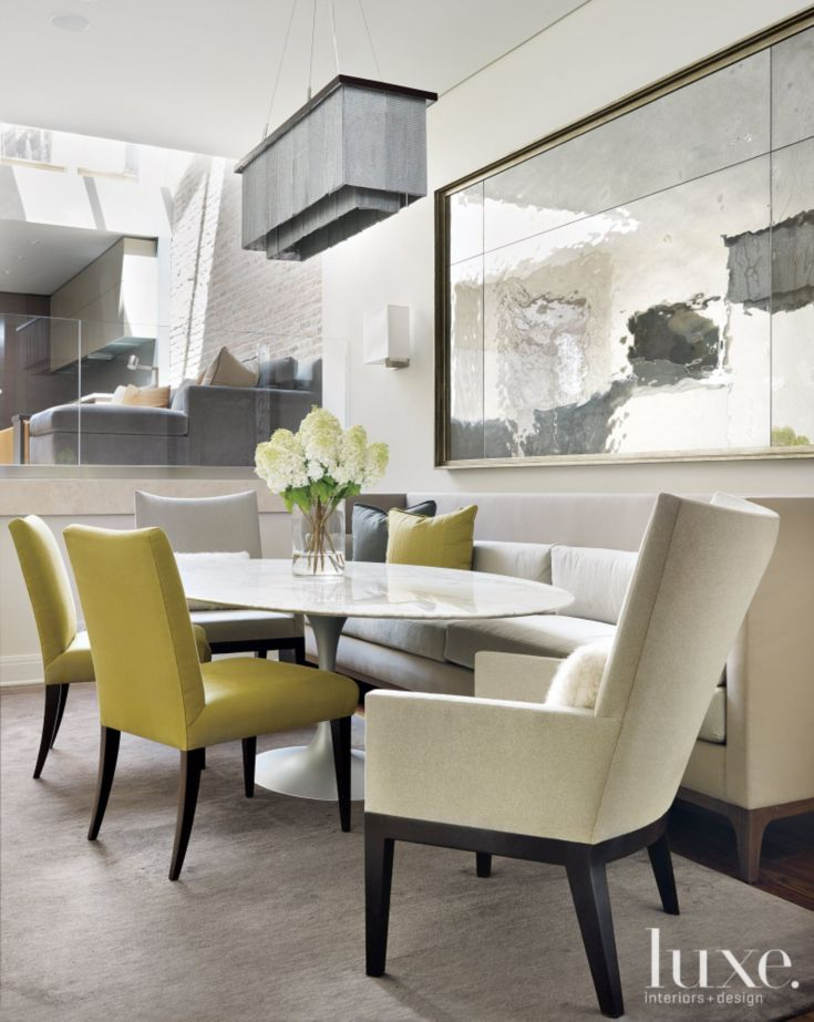 Contemporary Cream Dining Room With Green Linen Chairs Interior Design Dining Room Dining Room Design Interior Design Dining