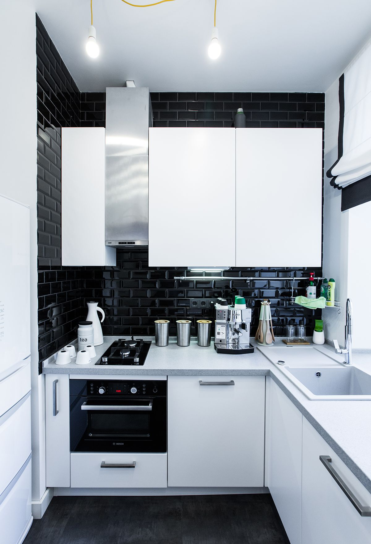 small modern kitchen design apartment with black white color kitchen