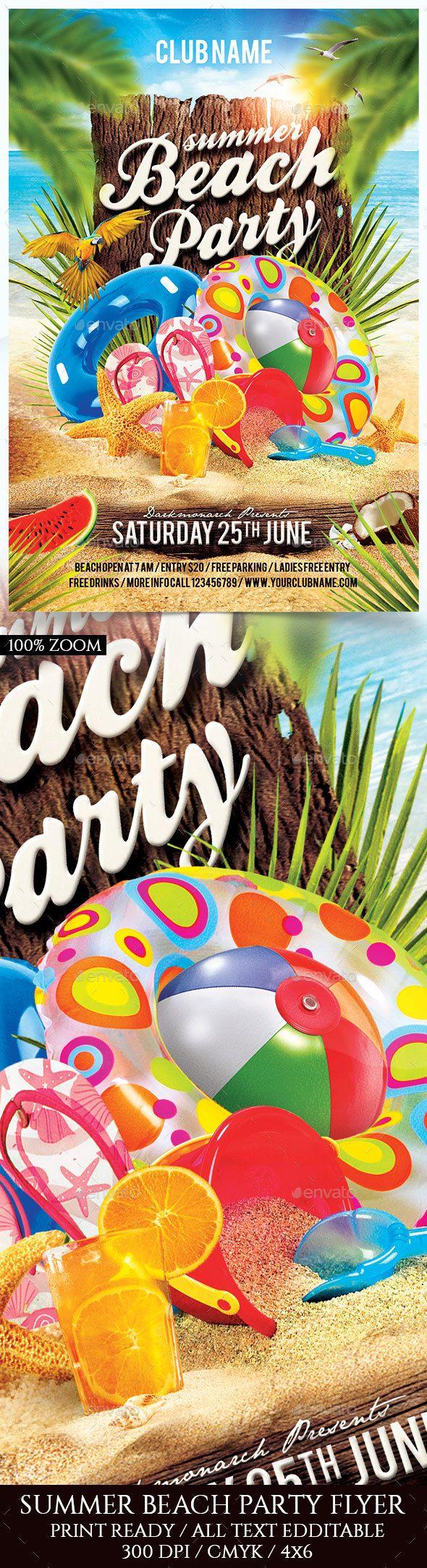 Summer Beach Party Flyer Template | Flyer-Vorlage, Sommer und ...