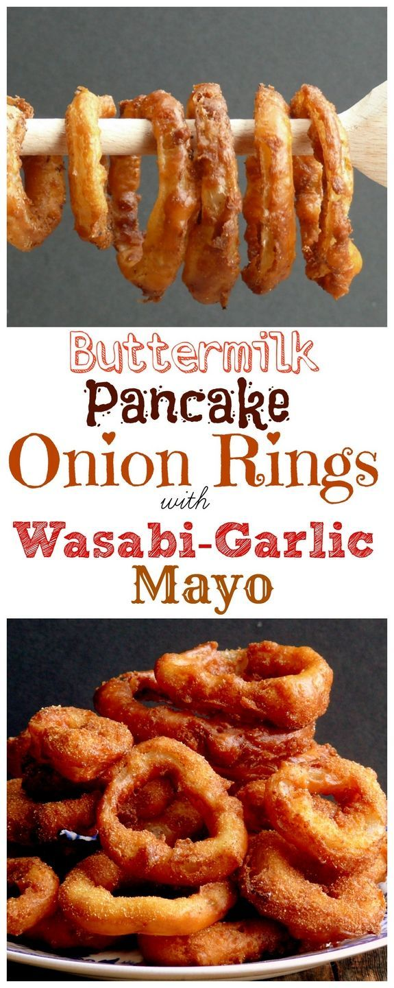 VIDEO + Recipe for Buttermilk Pancake Batter Onion Rings with Wasabi-Garlic Mayo from NoblePig.com.