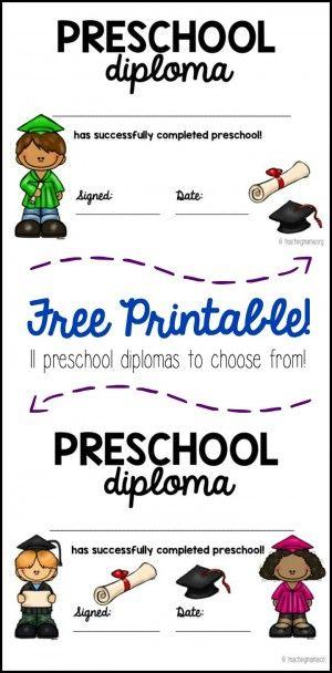 Preschool Graduation Diploma Preschool graduation, Preschool - Printable Preschool Diplomas