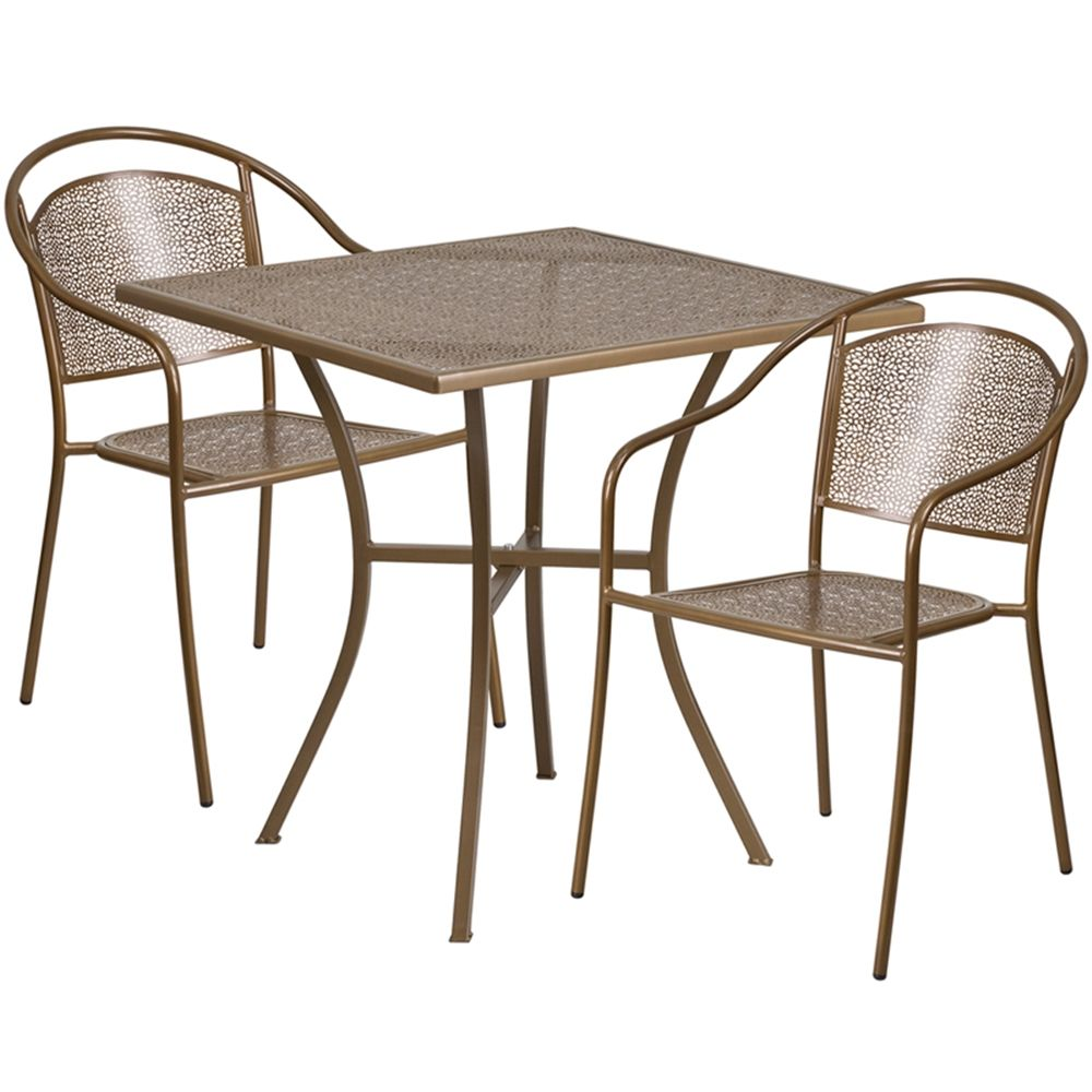 "28"" Square Gold Indoor Outdoor Steel Patio Table Set with 2 Round"
