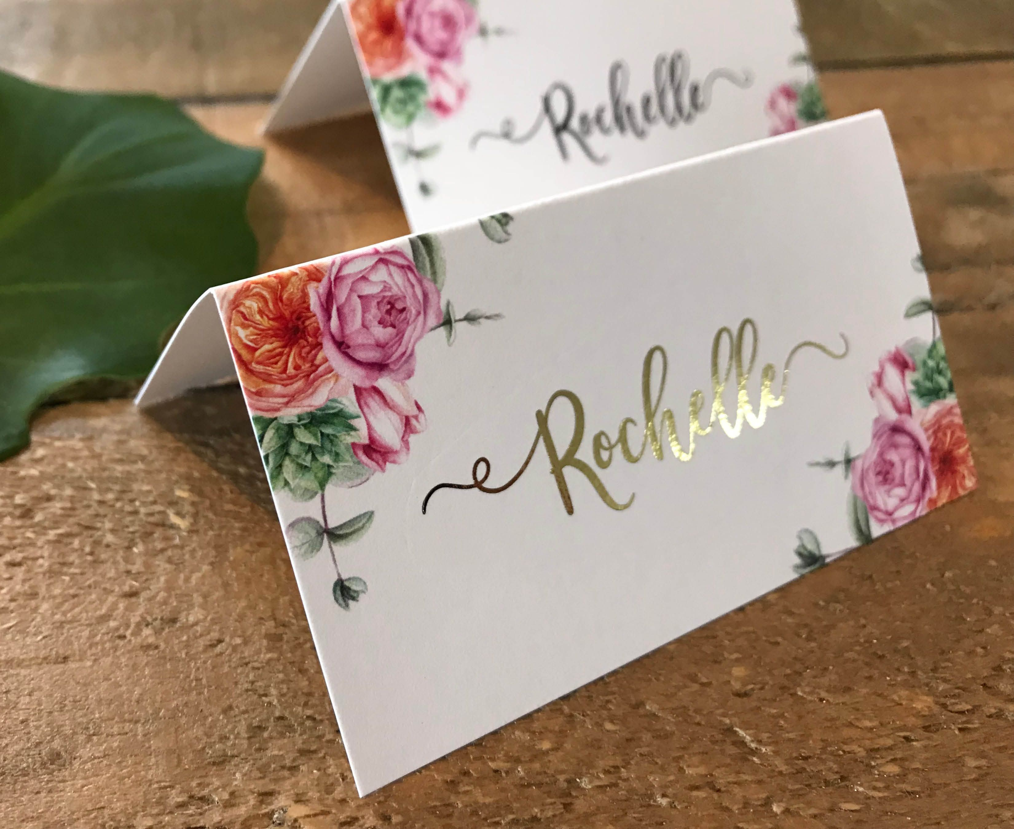 Pink Peony Rose And Succulent Floral Foiled Place Cards Tent