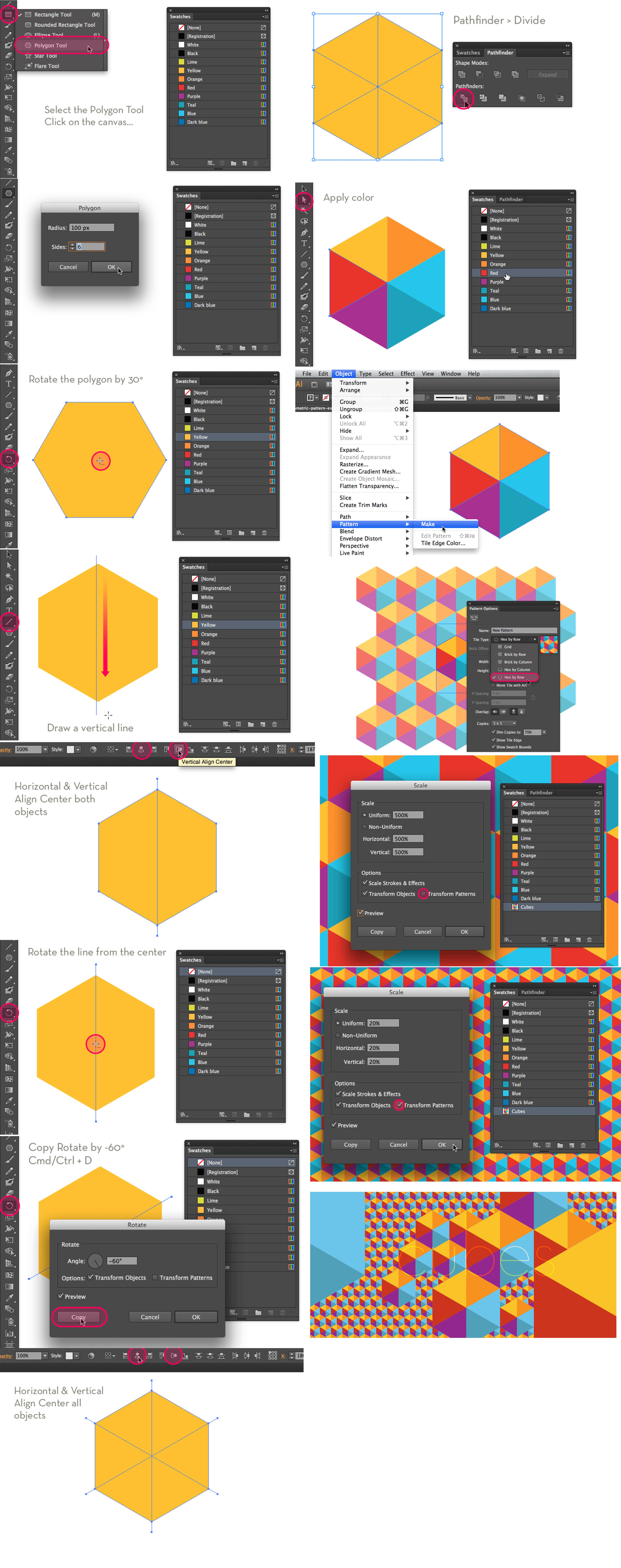 illustrator DIY polygon cubical pattern hexagon geometric