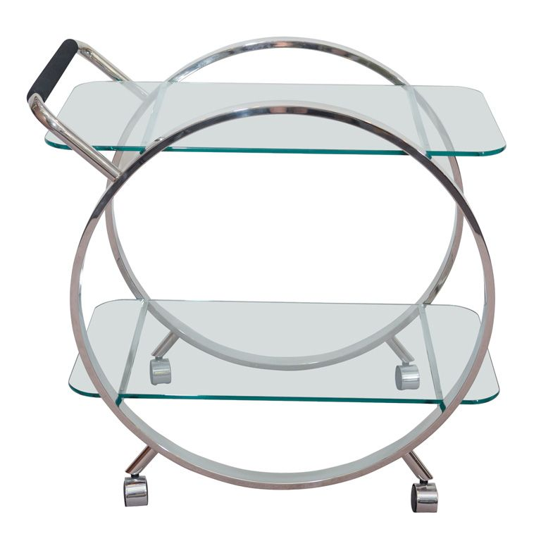 Mid Century Art Deco Style Two Tier Chrome Bar Cart on 1st dibs from Showplace antique + design center.