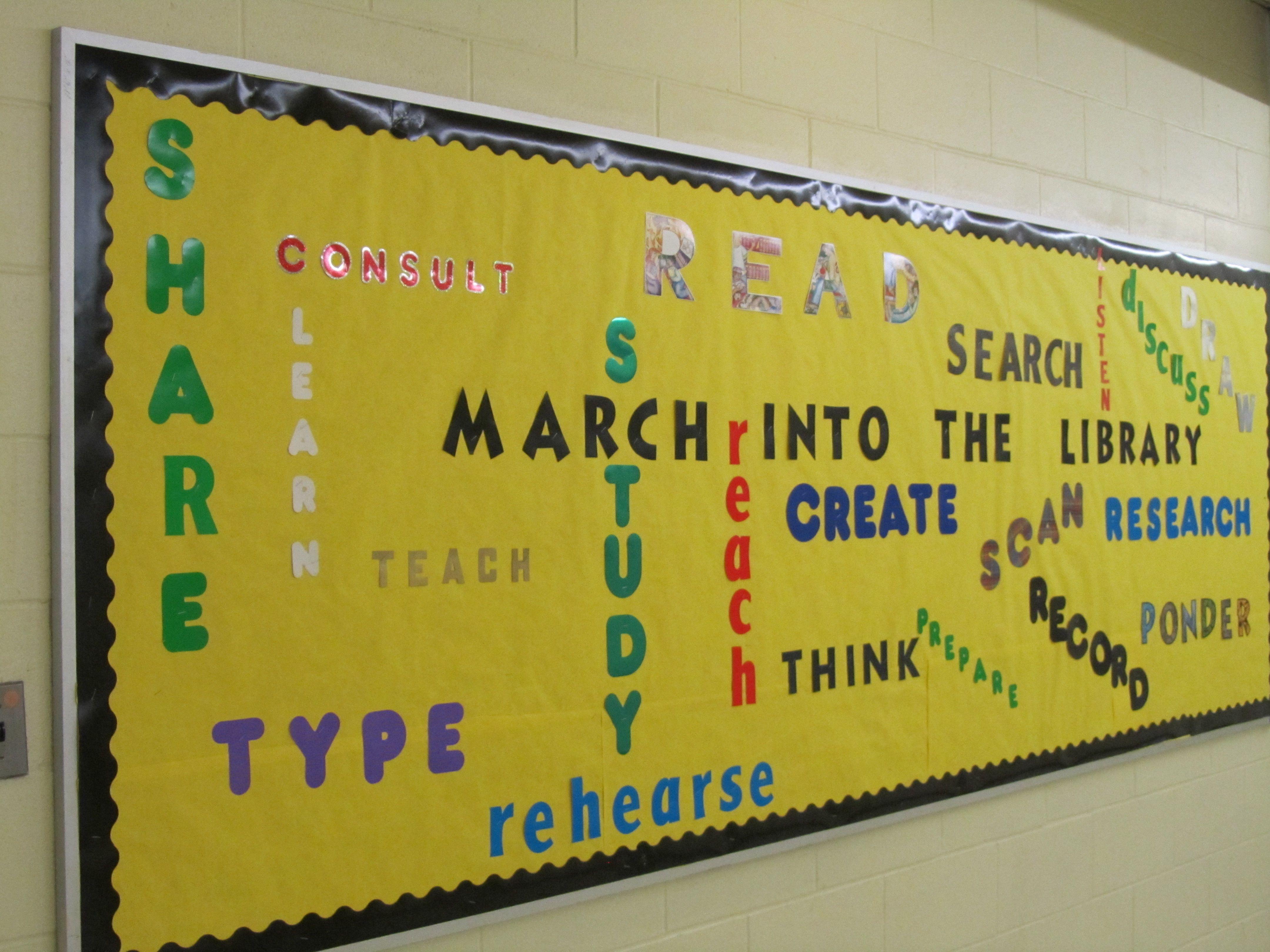 Wordle March High School Library bulletin Board | West Orange High ...