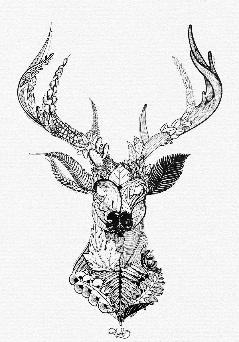 Designed By Dushky Art Illustration Drawing Design Deer Plants Overgrown Animal Stag Le In 2020 Stag Tattoo Design Deer Skull Tattoos Geometric Elk Tattoo
