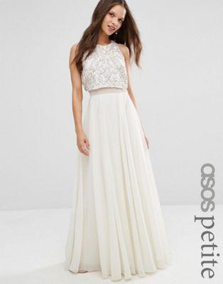ASOS PETITE All Over Embellished Crop Top Maxi Dress  ebb5ef76f