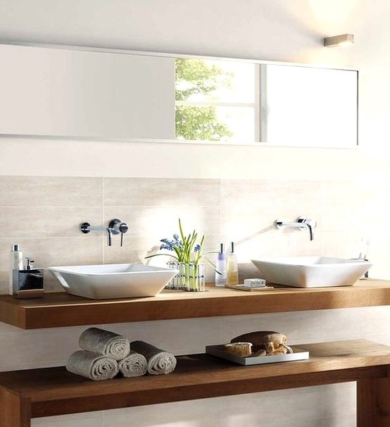 Salle de bain salle de bain pinterest design design - Meuble salle de bain blanc et bois ...