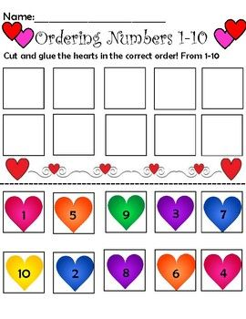 Ordering Numbers 1-10 Valentines Edition   Kind