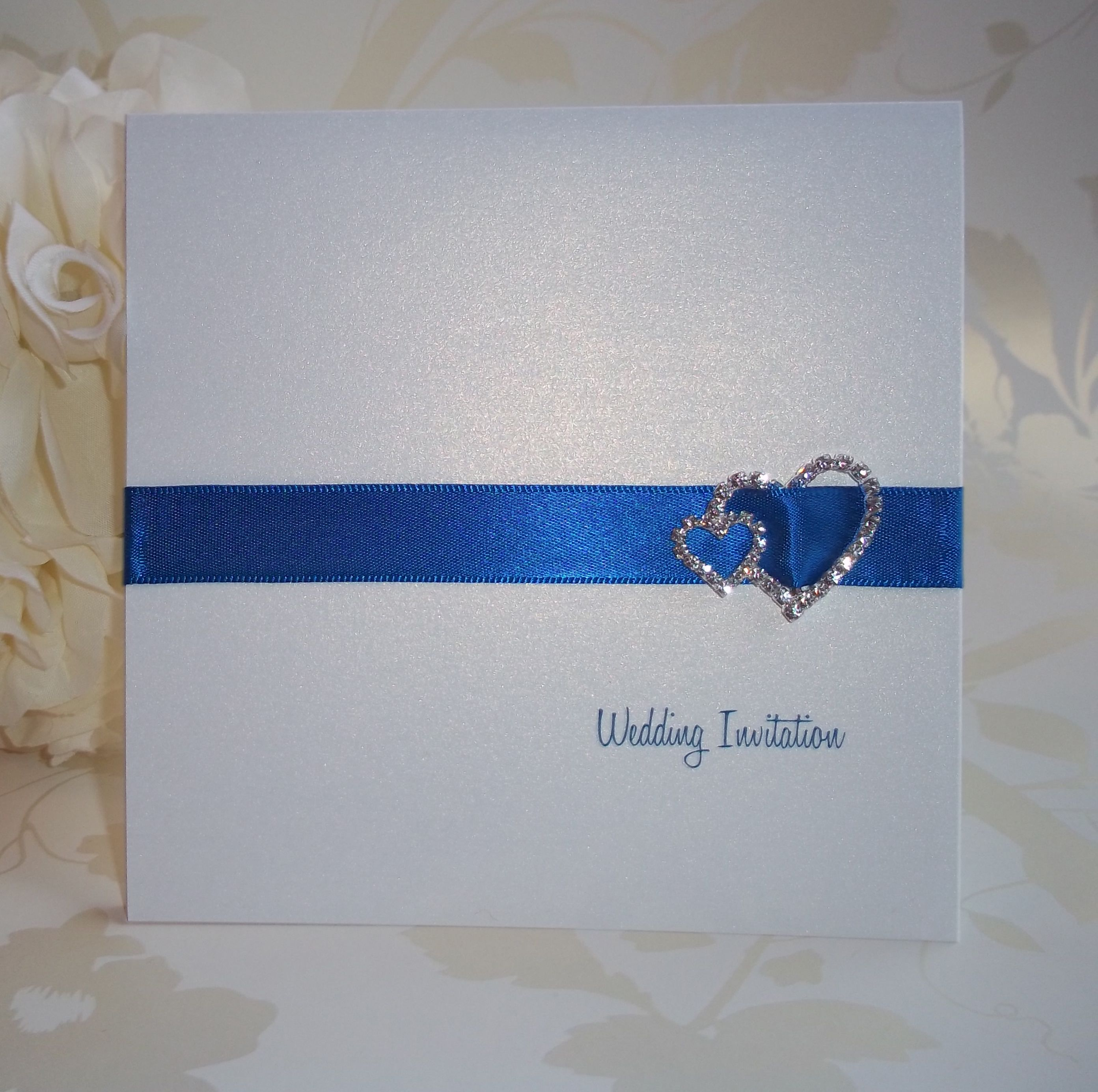 Elegance Wedding Invitation: Royal Blue Ribbon with Double Heart ...