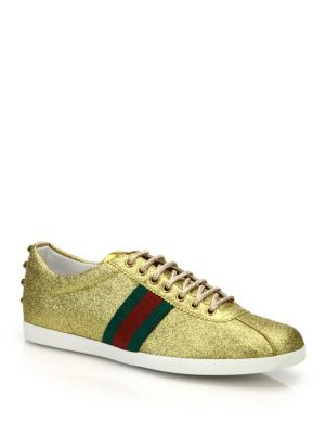 ab922985c GUCCI Bambi Web Gold Stud Low-Top Sneakers. #gucci #shoes #sneakers ...