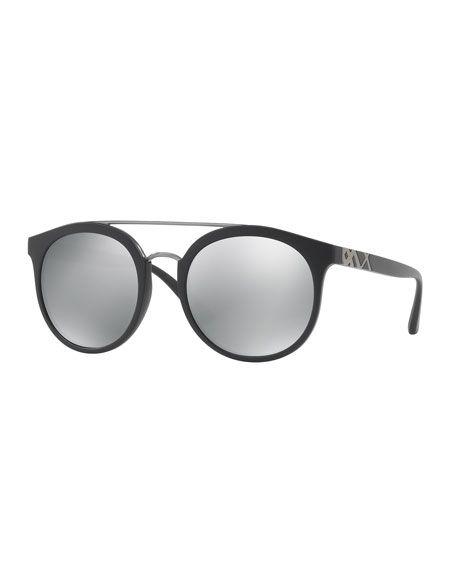 922d151517f55 BURBERRY Top Bar Polarized Round Frame Sunglasses