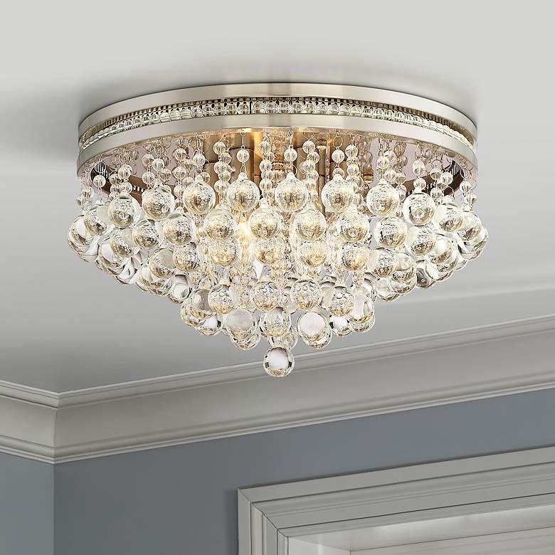 Regina Brushed Nickel 15 1 4 Wide Crystal Ceiling Light 1y132 Lamps Plus Crystal Ceiling Light Ceiling Lights Closet Light Fixtures