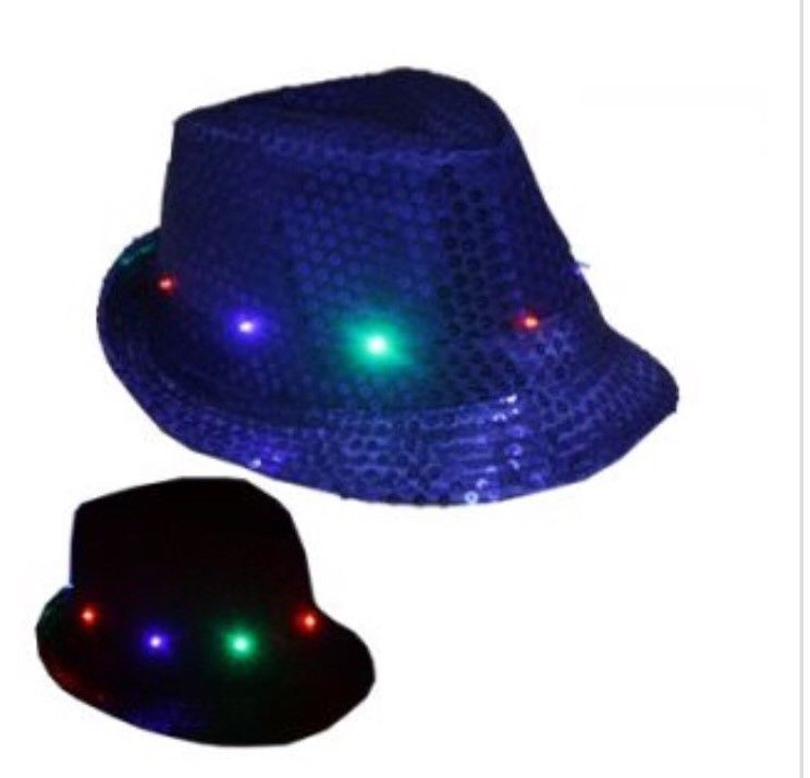 christmas hat led fedora hat light up sequins men women kids novelty blue party unbranded