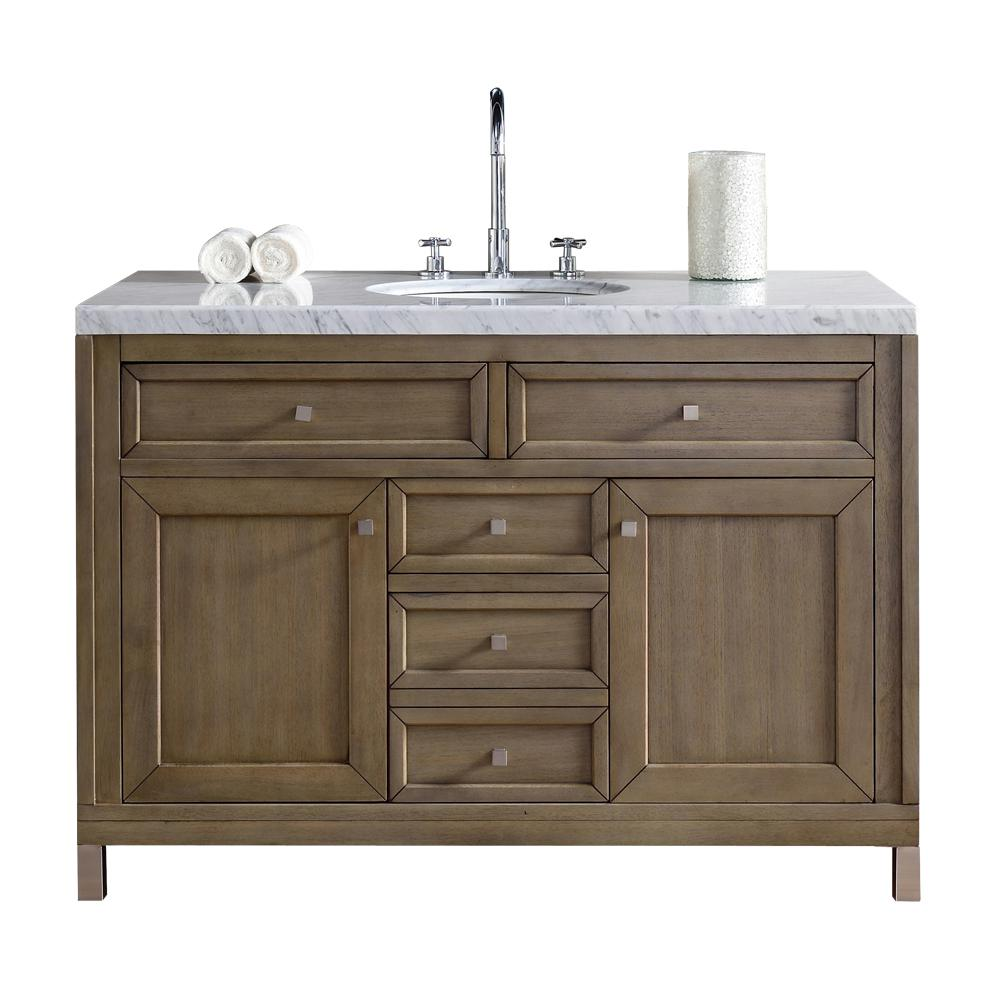 James Martin Vanities Chicago 48 In W Single Bath Vanity In Whitewashed Walnut With Marble Vanity Top In Carrara White With White Basin 305v48www4car The Hom Single Bathroom Vanity Single Sink