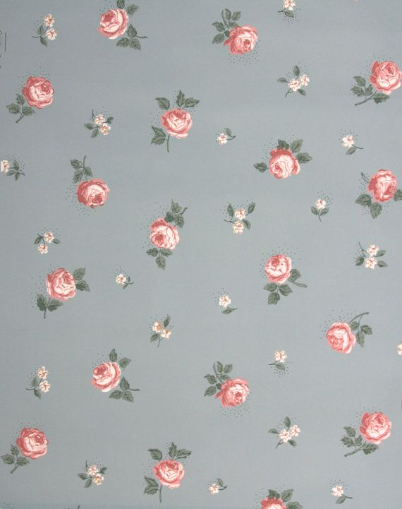 1940's Vintage Wallpaper - Small Pink Roses on Blue