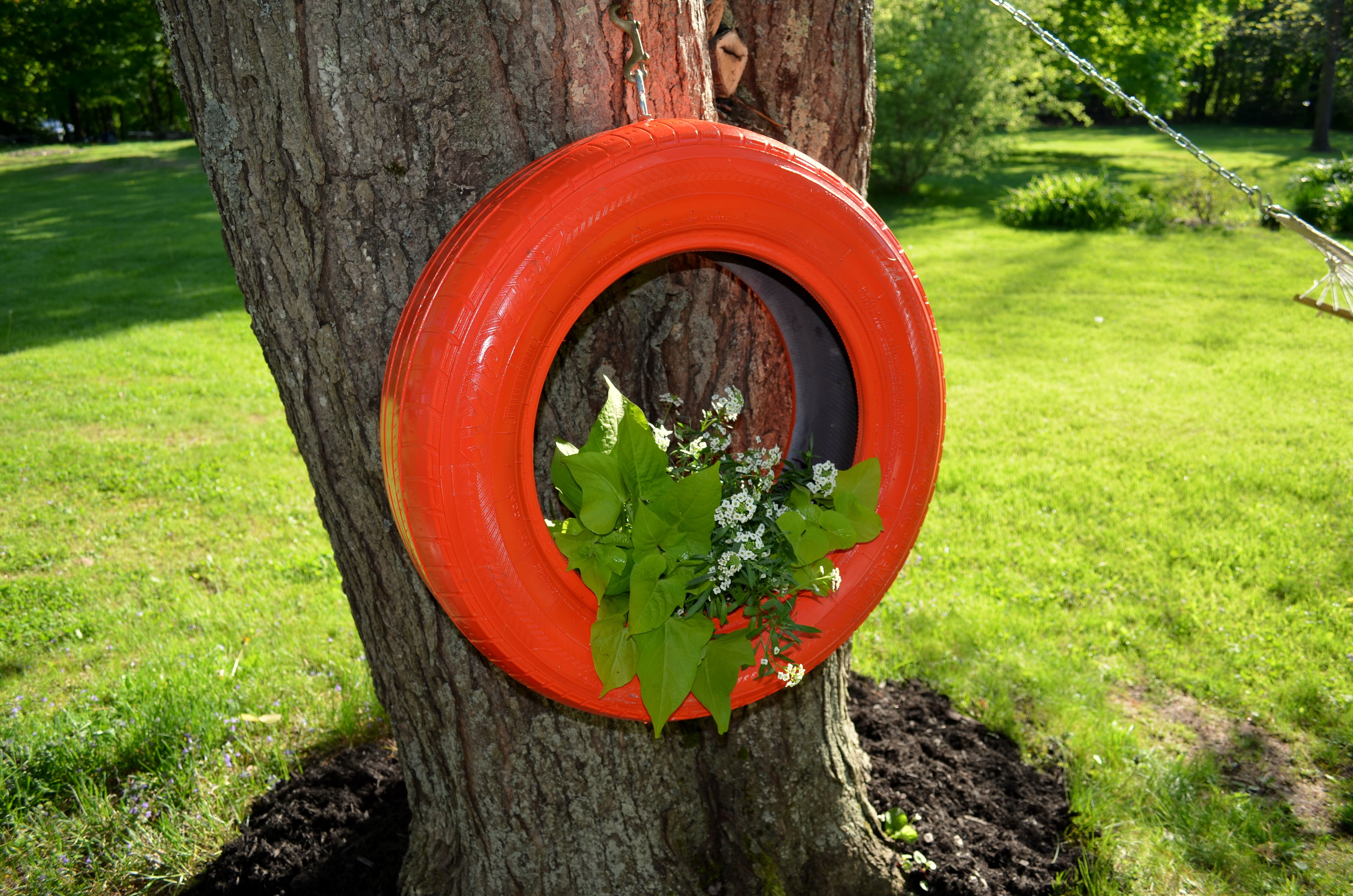 old tire repurposed ~ perfect / Container Garden / Hanging Planter